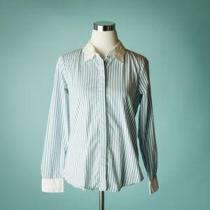 Karl Lagerfeld S Blue Stripe Button Down Shirt